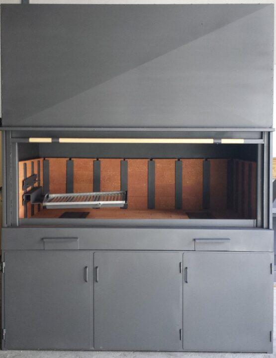 Barbacoa industrial de leña con guillotina